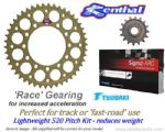 520 Pitch Race Gearing: Renthal Sprockets & Gold Tsubaki Sigma XRG Chain - BMW S1000RR (2015-2017)